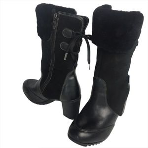 Pajar Black Suede Leather Heel Lined Boots 9.5